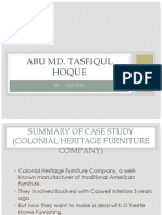 Summary of Case Study-Colonial Heritage Furniture Company