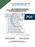 CALIFICADOS PARA OTORGAR LA MEDALLA DE HONOR DEL CPPe