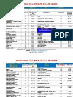 PRODUCTOS      DE LIMPIEZA DE LA FUENTE LISTA DE PRECIOS 2017.doc