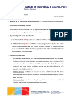 PHD Admission Economics BITS Pilani