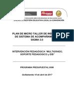 Plan de Micro Taller de Indución de Sistema de Acompañamiento Sigma 2