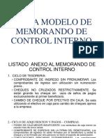 Carta Modelo de Memorando de Control Interno