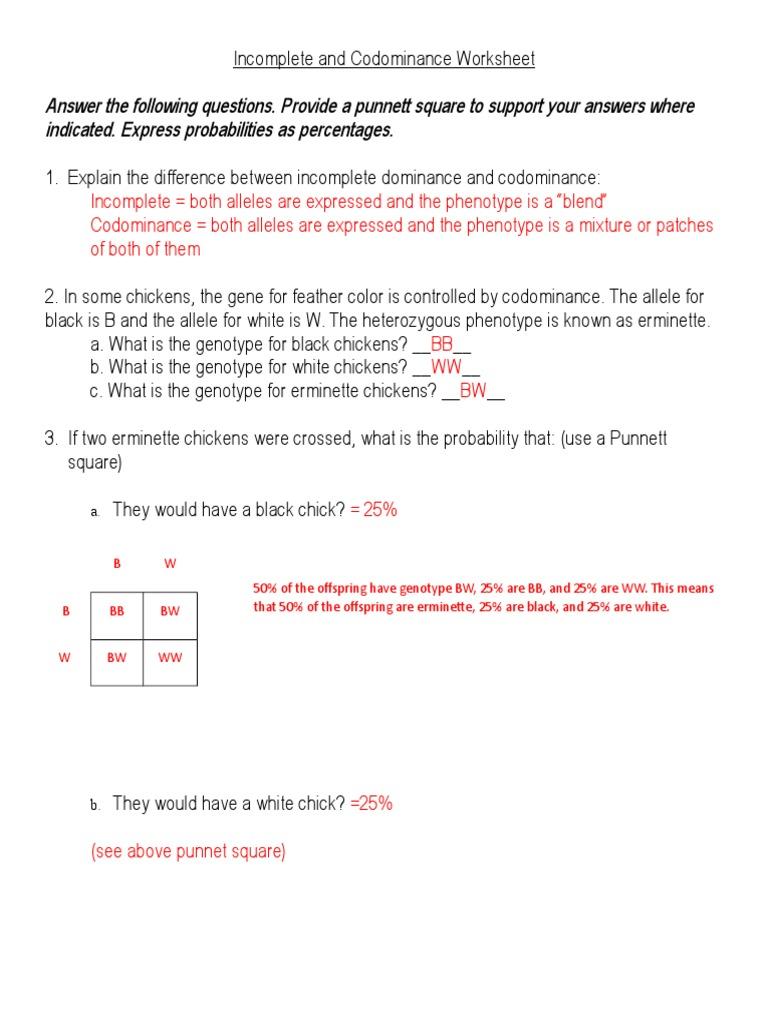 Worksheets Incomplete Dominance Worksheet incomplete and codominance worksheet answers doc dominance genetics genotype
