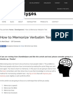 How to Memorize - Learn to Memorize and Increase Memory