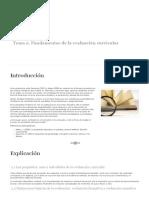 Fundamentos de la evaluación curricular