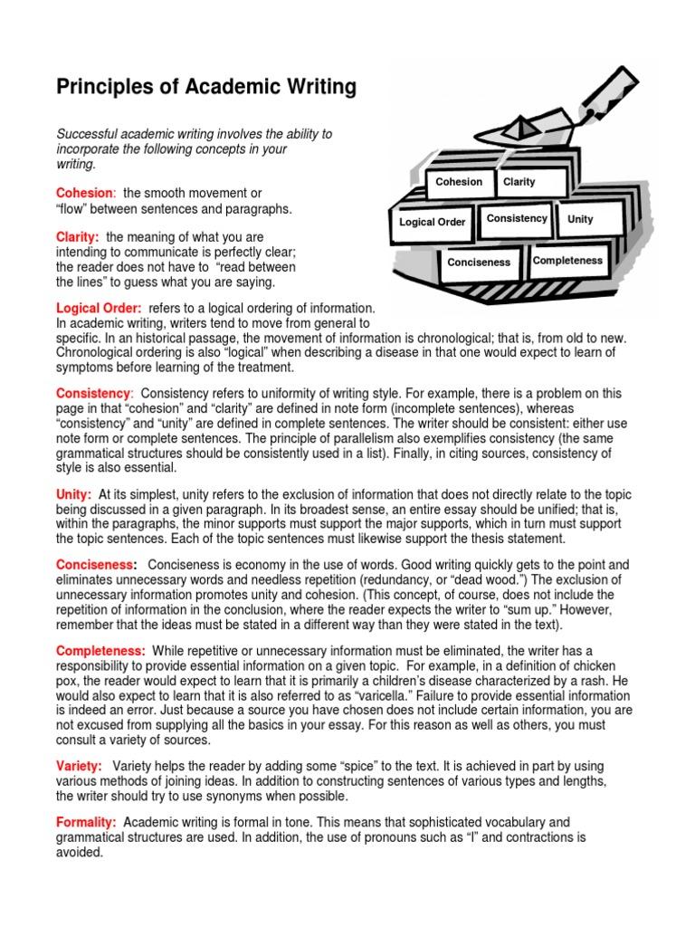 principles of academic writing  sentence linguistics