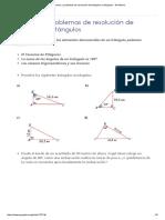 Ejercicios y Problemas de Resolución de Triángulos Rectángulos
