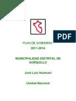 Plan de gobierno José Luis Huamaní (Surquillo Unidad Nacional)