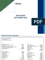 Resultados Financieros Septiembre 2016