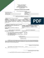 Investigation Data Form