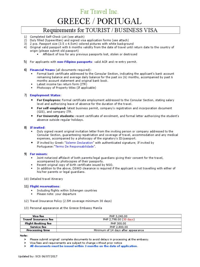 Greece Portugal Tourist Business Visa Requirements 1 Pdf