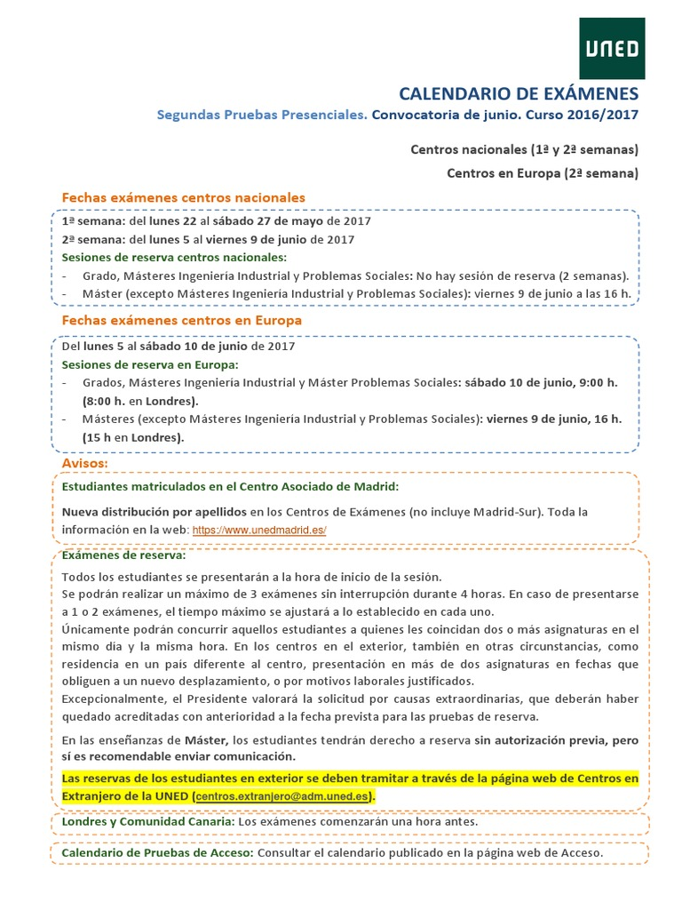 Calendario De Examenes Uned.Uned Geografia E Historia Examenes Junio 2017 Politica