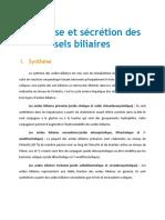 Secrection Et Synthese Des Sels Biliaires