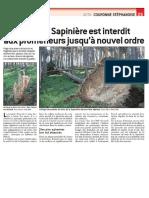 Le Progrès - Le bois de la Sapinière est interdit aux promeneurs jusqu'à nouvel ordre