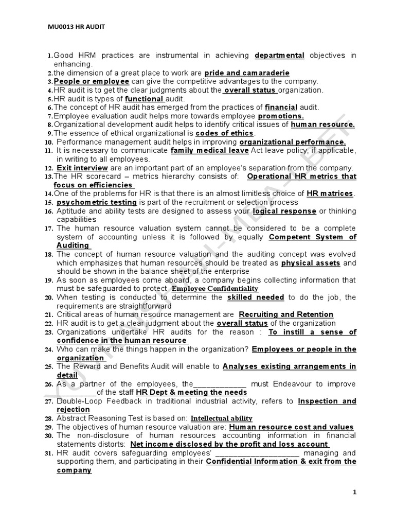 HR AUDIT MCQ.doc | Competence (Human Resources) | Human Resource ...