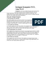 Materi Jenis-jenis Jaringan Komputer PAN, LAN, MAN Dan WAN