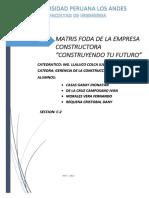 Matriz Foda de La Empresa Constructora