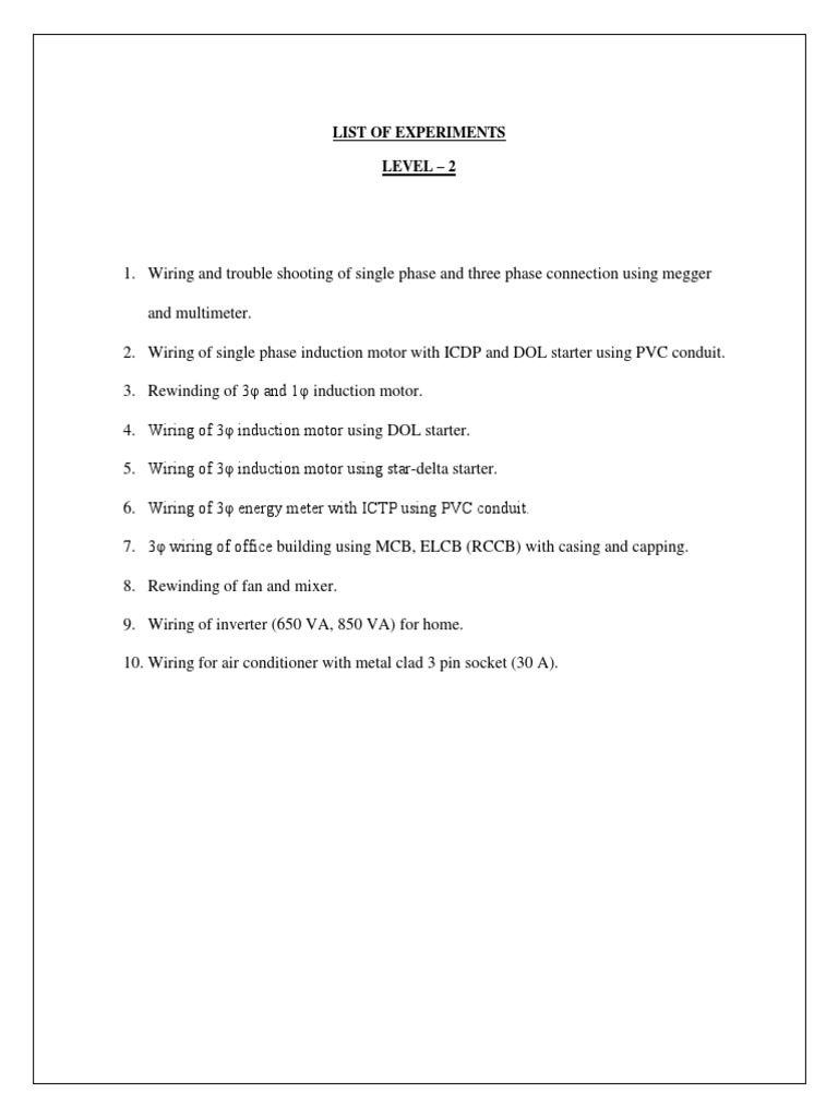 List Of Experimentsexperiments Electrical Wiring Pipe Fluid Using Pvc Conduit For Conveyance