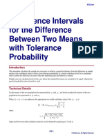 Confidence Intervals for the Difference Between Two Means With Tolerance Probability