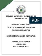 Diseños Factoriales en Minitab