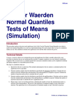 Van Der Waerden Normal Quantiles Tests of Means (Simulation)