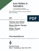 (Lecture Notes in Mathematics 157) Tammo Tom Dieck, Klaus Heiner Kamps, Dieter Puppe (Auth.)-Homotopietheorie-Springer-Verlag Berlin Heidelberg (1970)