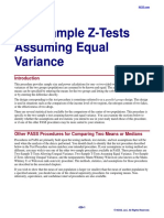 Two-Sample Z-Tests Assuming Equal Variance