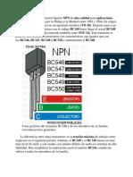 El Transistor Bc548 y La Serie Bc546 Bc547 Bc549 Bc550 Inventable