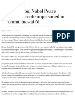 Liu Xiaobo, Nobel Peace Prize Laureate Imprisoned in China, Dies at 61 - The Washington Post