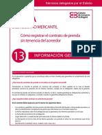 Guía Núm. 13. Cómo Registrar El Contrato de Prenda Sin Tenencia Del Acreedor