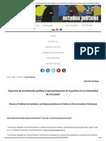 Espacios de Socialización Política y Representaciones de La Política en La Universidad de Antioquia _ Hurtado Galeano _ Estudios Políticos
