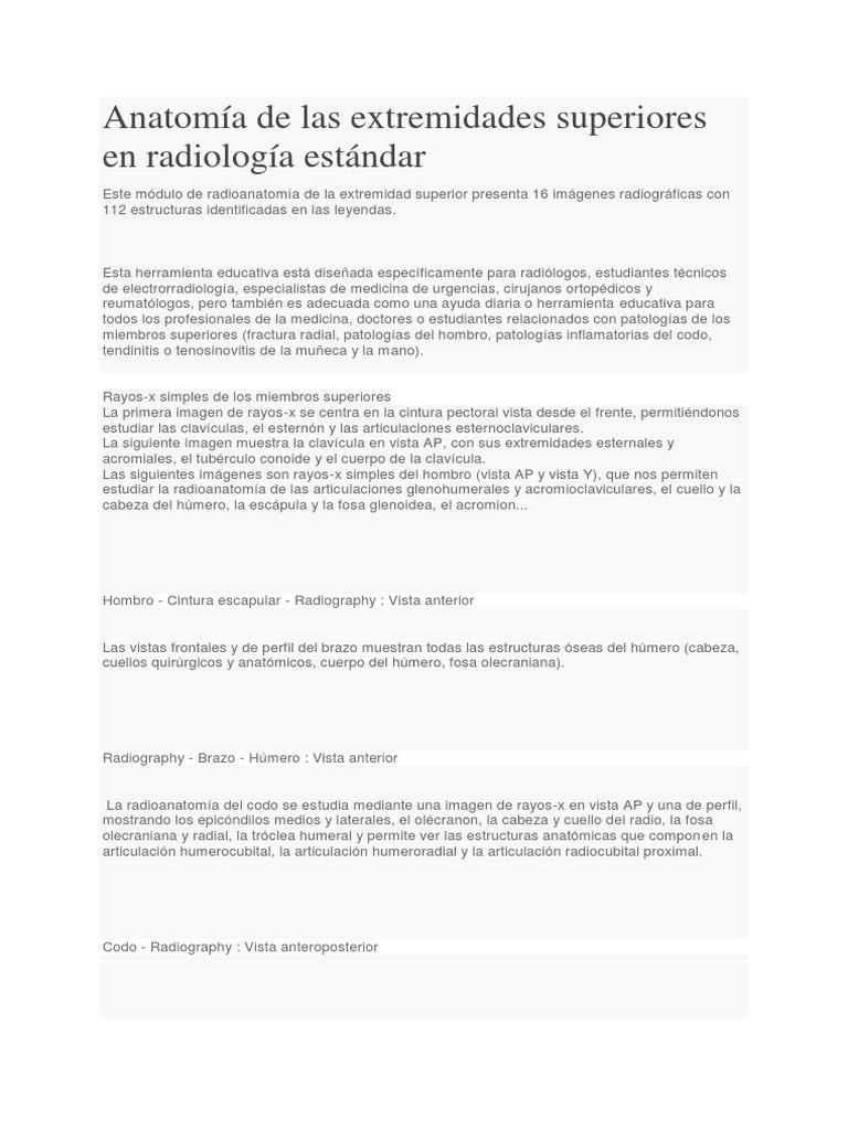 Anatomía de Las Extremidades Superiores en Radiología Estándar