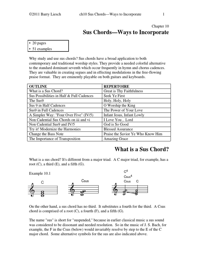 10 Sus Chords Incorporating Chord Music Musical Techniques