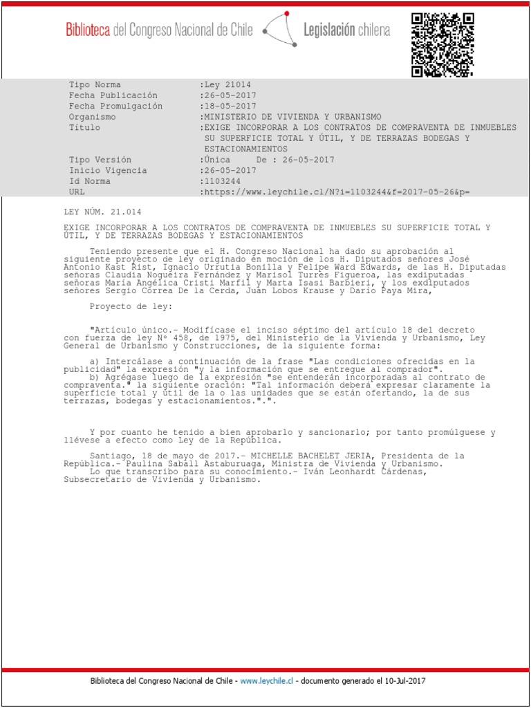 Ley 21014 26 May 2017 Exige Incorporar A Los Contratos De