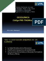 Geoquímica Tema 4_Clasificación Geoquímica de Los Elementos_Prof John Manrique