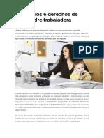 Conoce Los 6 Derechos de Toda Madre Trabajadora