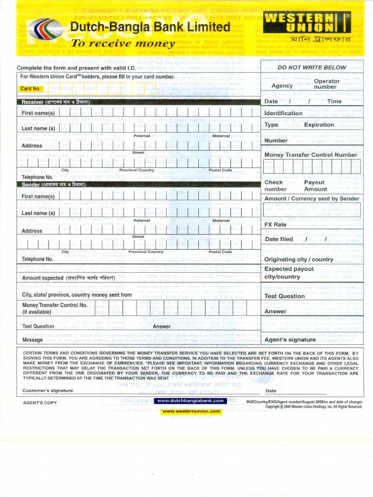Union formular western bank Medzinárodný peňažný