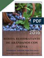 2 Da Presentación Bebida Rehidratante de Arandanos y Stevia.