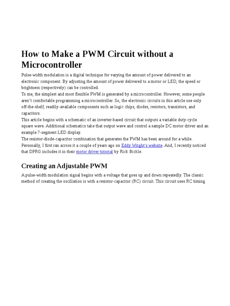 How To Make A Pwm Circuit Without Microcontroller Electronic Creating Circuits Power Inverter