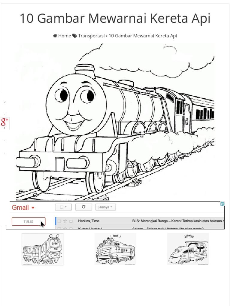 10 Gambar Mewarnai Kereta API Bonikids