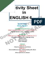 Activity Sheet English GRade 6