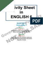 Activity Sheet English 6 Quarter 1 Week 4 Day 3
