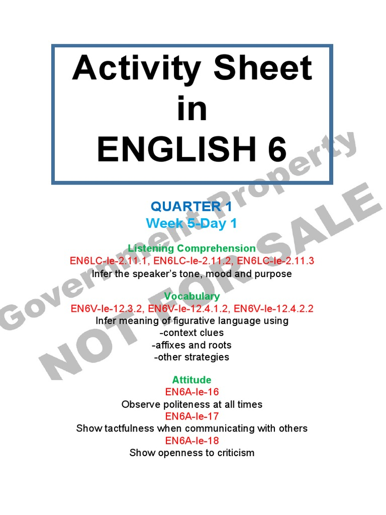 Activity Sheet English 6 Quarter 1 Week 5 Day 1 | Fast Food | School ...