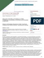 Educación Científica y Evolutiva en Chile_ Problemas Funcionales y Confictos Entre Enseñar y Aprender