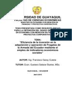 """""""Eficiencia de la inversión en la adquisición y operación de Fragatas de la Armada del Ecuador mediante el empleo de indicadores económicos sociales"""
