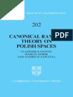 (Cambridge Tracts in Mathematics) Kanovei v., Sabok M., Zapletal J.-canonical Ramsey Theory on Polish Spaces-Cambridge University Press (2013)