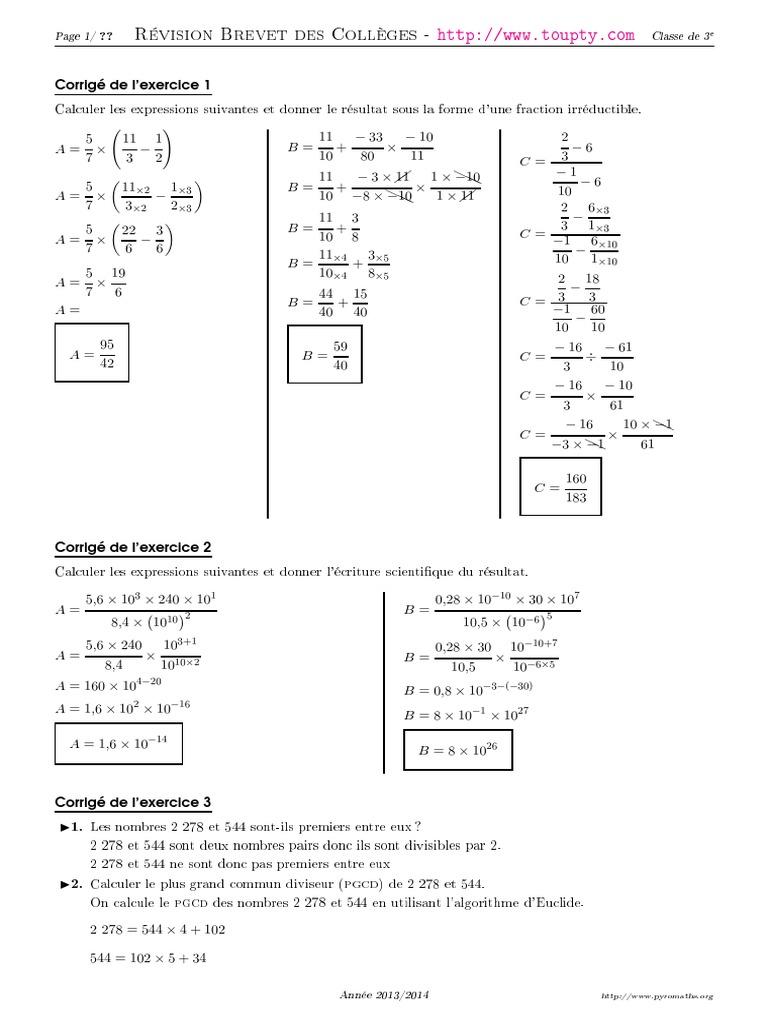exercices-calcul-3eme-3-corrige.pdf | Probabilité ...