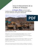 Southern Inicia El Relanzamiento de Su Proyecto Tía María en Arequipa