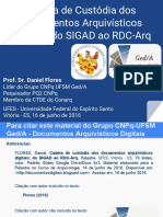 Cadeia de Custodia Dos Documentos Arquivisticos Digitais- Do Sigad Ao Rdc-Arq