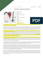 Desafíos y Soluciones en El Derecho a La Salud en La Argentina